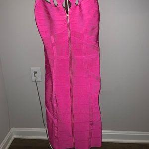 Bebe hot pink bandage dress